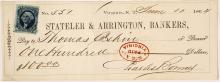 Stateler & Arrington Check with Rare S & A Oval Stamp