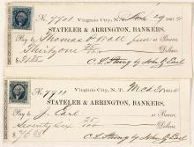 Territorial Stateler & Arrington Checks signed by president John Earl