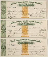 Three Comstock Checks from Gould & Curry to Comstock Businesses