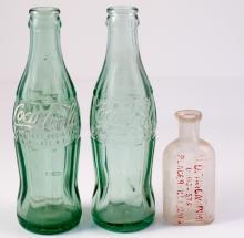 Alden & Campini Druggists bottle & two Coke bottles