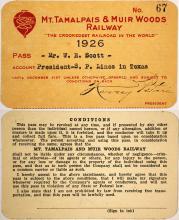 Mt. Tamalpais & Muir Woods Railway Annual Pass, 1926