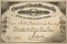 Chicago & North Western Railway Pass, 1882
