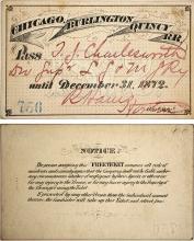 Chicago, Burlington, & Quincy Railroad Pass, 1872