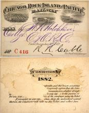 Chicago, Rock Island & Pacific Railway Pass, 1882, Pictorial