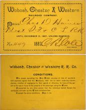 Wabash, Chester & Western Railroad Co. Pass, 1887