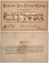 Louisville, New Albany  & Chicago Railway Pass, 1877