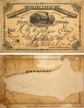 Louisville, Cincinnati & Lexington Railroad Pass, 1876, Pictorial