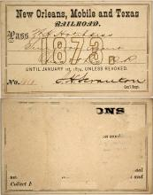 New Orleans, Mobile & Texas Railroad Pass, 1873