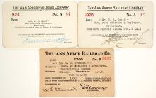 Three Ann Arbor Railroad Company Passes (1920-1926)