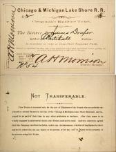 Chicago & Michigan Lake Shore Railroad Clergyman's Pass, 1872