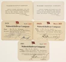 Five Wabash Railway Company Passes