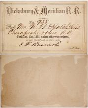 Vicksburg and Meridian Railroad Company Pass, 1873