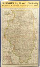 Map of Illinois Railroad by Counties, 1883