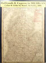 Map of Railroads & Express in Michigan, 1895