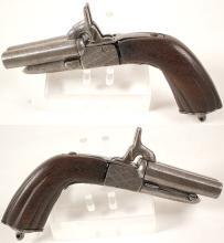 Double barrel pin-fire derringer .44 caliber