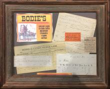 Framed Bodie Stagecoach Ephemera Display