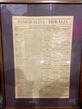Framed Esmeralda Herald Newspaper