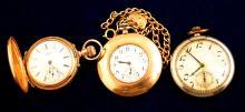 Three Vintage Elgin Ladies Pocket Watches