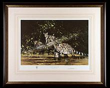 DAVID SHEPHERD O.B.E. F.R.S.A. 'CLOUDED LEOPARD AND CUBS'