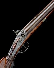 * A.W. EDEL, LEIPZIG A 10-BORE PERCUSSION DOUBLE-BARRELLED FOWLING-PIECE, no visible serial number,
