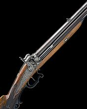 ADAM KUCHENREUTER, REGENSBURG A FINE 22-BORE PERCUSSION OVER-UNDER SPORTING-RIFLE, no visible serial number,