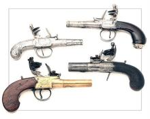 VARIOUS MAKERS A COLLECTION OF FOUR ENGLISH FLINTLOCK TURN-OFF BOXLOCK POCKET-PISTOLS, no visible serial numbers,