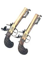 A PAIR OF 32-BORE FLINTLOCK ALL-BRASS SASH-PISTOLS WITH SPRUNG BAYONETS, UNSIGNED, no visible serial numbers,