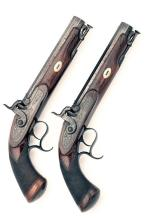 TIPPING & LAWDEN, LONDON A PAIR OF .650 (CARBINE) PERCUSSION OFFICER'S PRIVATE-PURCHASE BELT-PISTOLS, no visible serial numbers,