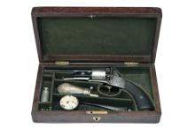 OWEN POWELL, SHEFFIELD A CASED 80-BORE PERCUSSION REVOLVER, MODEL 'WEBLEY-BENTLEY TYPE', no visible serial number,