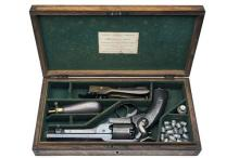 LONDON ARMOURY CO. A CASED 54-BORE PERCUSSION REVOLVER, MODEL 'KERR'S PATENT', serial no. 10508,
