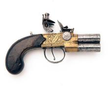 RYDING, LONDON A 60-BORE FLINTLOCK OVER-UNDER TAP-ACTION POCKET-PISTOL, no visible serial number,