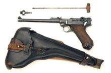 * DWM, GERMANY A 9mm (PARA) SEMI-AUTOMATIC PISTOL MODEL 'P08 LANGE' or 'ARTILLERY LUGER', serial no. 1836, WITH STOCKBOARD & HOLSTE