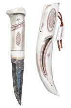JAN LINDFORS & MATTIAS STYREFORS, SWEDEN A GOOD FULLHORN KNIFE OF NORDIC STYLE,