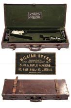 WILLIAM EVANS A BRASS-CORNERED LEATHER DOUBLE GUNCASE,