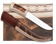 PATRIK HANSSON, SWEDEN A GOOD REINDEER ANTLER AND BIRCH-WOOD MOUNTED LARGE SAMI-KNIFE,