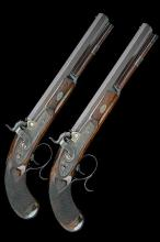 * D. EGG, LONDON   A FINE CASED PAIR OF 54-BORE PERCUSSION OFFICER'S PISTOLS, no visible serial numbers,