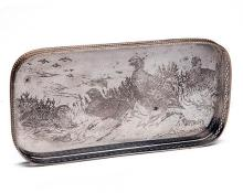 THE FAMOUS GROUSE A SILVER PLATE 'GROUSE' SMALL DRINKS TRAY,
