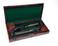 ALEXANDER WILSON, LONDON A CASED PAIR OF .650 PERCUSSION DUELLING or OFFICER'S PISTOLS, no visible serial numbers,
