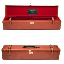 A LIGHTWEIGHT LEATHER DOUBLE MOTOR CASE,