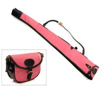 † JOANNE YORATH A NEW AND UNUSED PINK LEATHER SHEEPSKIN-LINED SINGLE GUNSLIP WITH MATCHING CARTRIDGE BAG,