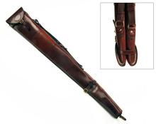 † REY PAVON A NEW AND UNUSED LIGHT TAN LEATHER SHEEPSKIN-LINED DOUBLE GUNSLIP,