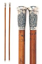 A PAIR OF PRESENTATION SILVER-MOUNTED SWAGGER-STICKS TO THE ROYAL ENGINEERS,