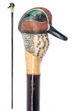 MIKE WOOD A FINE HAND-CARVED AND PAINTED SPORTSMAN'S STAFF,
