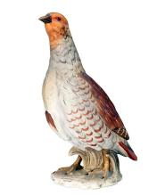 A GOEBEL SCULPTURE OF A PARTRIDGE WITH A MATCHING MINIATURE,