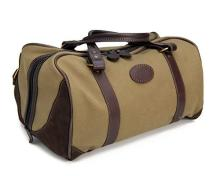 AN UNUSED CANVAS AND LEATHER WEEKEND CARRY BAG,