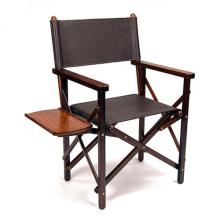 † JAMES PURDEY & SONS A FINE ROSEWOOD AND LEATHER CAMPAIGN TYPE FOLDING CHAIR,
