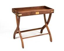 † JAMES PURDEY & SONS A NEW AND UNUSED BRASS-BOUND WALNUT TRAY / TABLE,