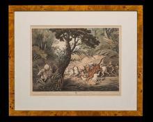 WILLIAM SAMUEL HOWITT (1765–1822) TWO VINTAGE COLOURED ORIGINAL AQUATINTS OF INDIAN GAME SCENES,