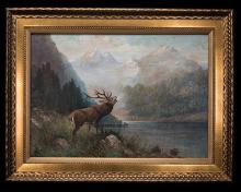A LARGE ORIGINAL OIL ON CANVAS OF A ROARING STAG,