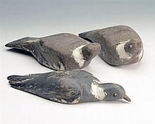 THREE VINTAGE WOODEN WOOD PIGEON DECOYS
